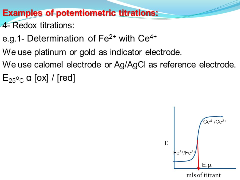 E25oC α [ox] / [red] Examples of potentiometric titrations: